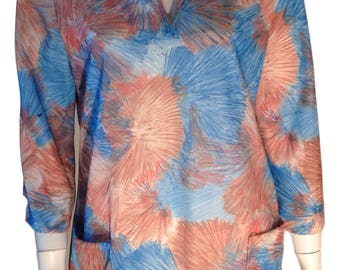 John Abbott 1960s / 1970s Pocketed Sputnik Polyester 3/4 Sleeve Brown Blue Blouse Top - Size Medium