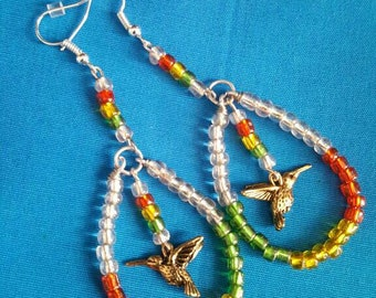 Rasta, red gold green, island style earrings with humming birds