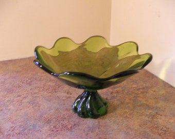 Vintage 1960s Viking Glass Epic Twist Compote / Candy Dish in Green