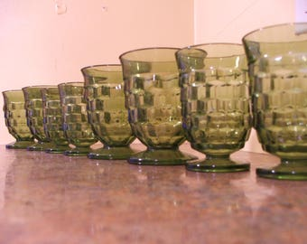 Set of Eight (8) Vintage Green Whitehall / Indiana Glass Cubist Short Footed Tumblers (4) and Juice Tumblers (4)