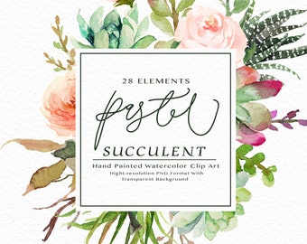 Watercolor succulent clip art -Pastel Succulent Elements/rustic peach/Individual PNG files/Hand Painted/Wedding