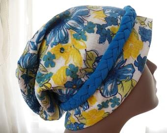 Floral Hair Loss Turban,Hair Loss Turban,Chemo Hat,Blue Floral Turban,Yellow Floral Turban,Slouch Hat,Ladies Hat,Womens Hat,Blue Floral Cap