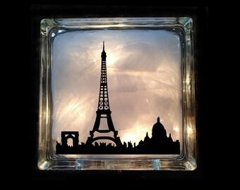Paris Night Light - Eiffel Tower - Travel Lighted Glass Block GB-1041