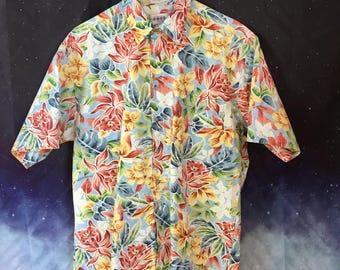 90's Vintage Floral CAMPIA MODA Short-Sleeve ALOHA Hawaiian Shirt | Size Large