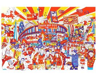 Arsenal gunners illustration print artwork gift, A4, A3 or A2 Signed QueenKwak 'City Celebration' original football fan art, picture poster.