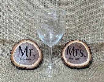 Mr. Mrs. 2 piece Coaster Set Wedding 2017 Gift Bride Groom Rustic Wood Engraved
