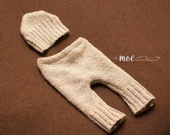 Newborn Pants and hat set - gender neutral - boy or girl - tan knit pants and hat