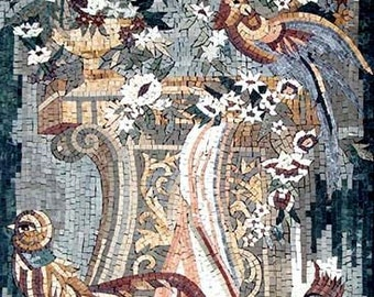 Birds and Flowers Mosaic Stone Art