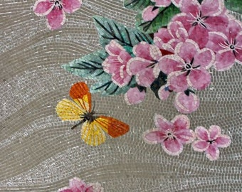 Pink Flowers on Gray Background Glass Mosaic Mural