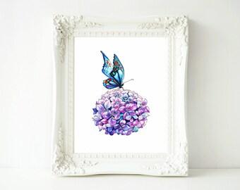 Butterfly Print Hydrangea Print Purple Wall Art Print. Flower Print Colourful Butterfly Print Wall Art Flowery Art Print Blue butterfly