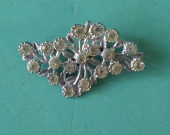 Silver Pin, Vintage Pin, Rhinestone  Pin, Hat Pin, Coat Pin, Rhinestone Brooch, Crystal Pin, Crystal Brooch, Cubic Zirconia, Bouquet Accent