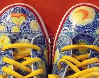Higo Gogh Sneakers Hand Painted BlueStarryNight