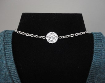 Cubic Zirconia Choker/Necklace/Silver Stainless Steel Decorative Chain/Extension Chain/Hematite Bead