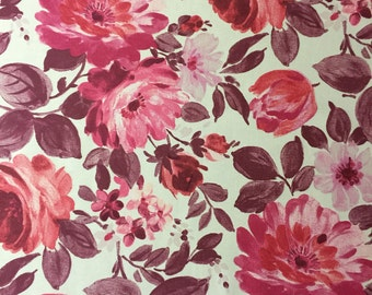 Red/Pink floral pattern cotton Fabric By The Metre
