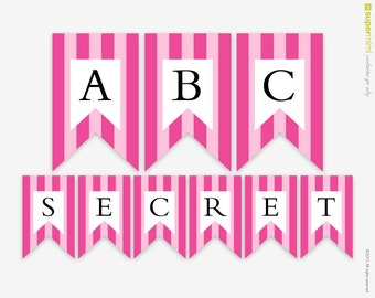 Pink Stripes Victoria Secret Themed Banner A to Z / Instant Printable Download