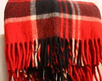 Vintage Stadium Blanket, Red and Black Plaid, Wool Blanket, Fringe, Sports Blanket, Picnic Blanket, Photo Prop Blanket, Travel Blanket