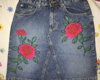 Aesthetic rose denim skirt