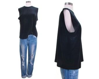 velvet top sleeveless velvet tshirt black velvet shirt minimalist shirt black tank top goth top velvet tank top