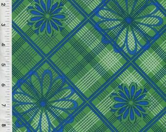 "Cranston ""Daisy and Plaid Argyles"" Green/Navy Fabric"