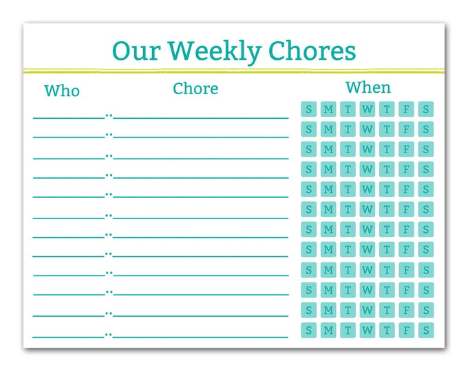 photo relating to Printable Chore Charts for Teens identify Printable Chore Chart - Spouse and children Enterprise - Control Middle - Printable Chart - Teenager Chores - Household Agenda - Instantaneous Down load - Teal