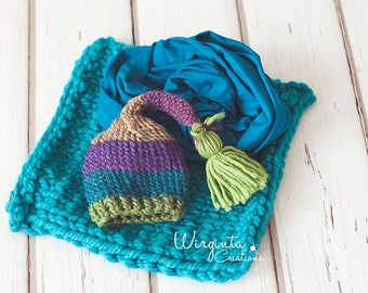 Three piece set for newborn baby. Turquoise, blue, green. Hat for newborn, blanket/layer and stretch wrap. Photo prop. Ready to send