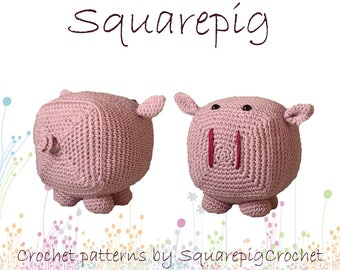 Squarepig crochet pattern, an adorable square pig!