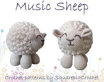 """Sheep crochet pattern with a musicbox inside, about 6,5"""" tall! Plays a cute little song when you pull his tail."""