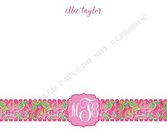 Lilly Pulitzer note card, personalized flat note cards, Thank You Note, Lilly Pulitzer stationery, with monogram and name