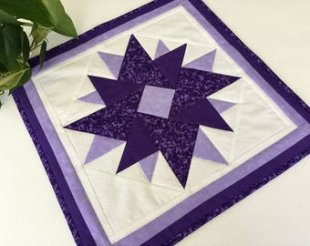 Purple Square Geometric Wall Hanging or Table Topper Handmade Quilted Tablecloth