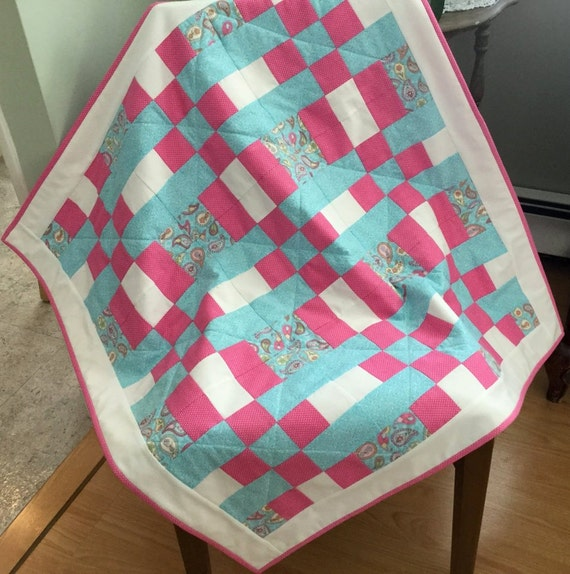 Plaid Baby Quilt: Pink And Turquoise Plaid Baby Girl Quilt Handmade Patchwork