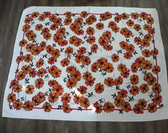 FREE SHIPPING! 1960s or 1970s Floral Terry Cloth Tablecloth Mod Red & Orange / Large