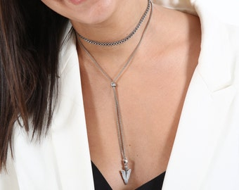 Silver Necklace Set - Choker Necklace + Lariat Necklace - Silver Choker - Y necklace - Wide Choker - Silver Lariat - Collar Necklace