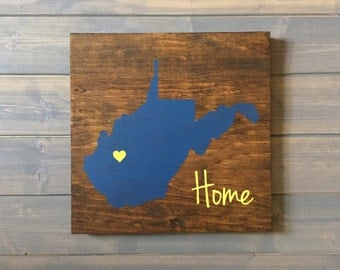 Pick Colors, West Virginia Wood Sign, West Virginia Sign, Hand Painted, State Guest Book, West Virginia decor, West Virginia art