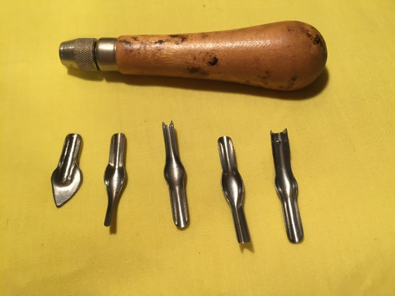 Vintage speedball linoleum cutting tools from panachebyash