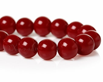 Red Glass Beads 8mm - 50/100/200 Wholesale Burgundy Red Beads For Jewelry Making G1739