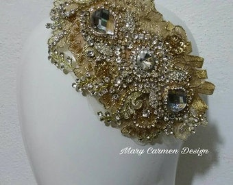 Headpiece wedding, head Comb, tocado Novia, peineta boda, tocado cristales
