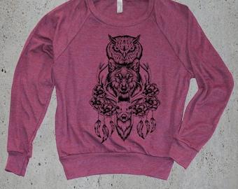 Womens(DEER OWL WOLF Totem)Deer Sweatshirt-Wolf Sweatshirt Wolf Clothing,Wolf Sweater-Owl Sweatshirt Native American,instagram likes