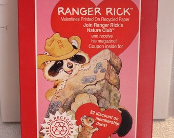 Vintage American Greetings Ranger Rick Valentines, Nature Club Recycled Paper