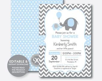 Instant Download, Editable Elephant Baby Shower Invitation, Blue Elephant Invitation, Little Peanut, Baby Sprinkle,Blue Gray Chevron(SBS.35)