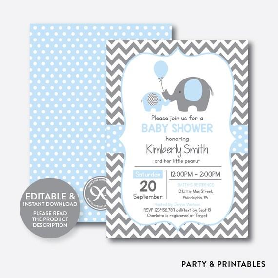 Instant Download Editable Elephant Baby Shower Invitation Blue
