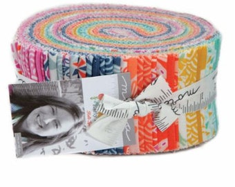 """Early Bird Jelly Roll 40, 2.5"""" strips for Moda by Kate Spain,  Bright and fun fabric strips, birds, flowers, geometric, sample spree"""