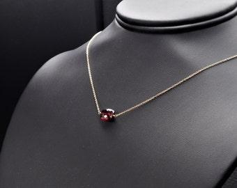 Garnet Choker Necklace, Dainty Necklace, Minimalist Necklace, Garnet Jewelry, Garnet Necklace, Layering Necklace, Birthstone Necklace