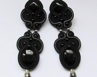 Soutache Earrings Black - Silver