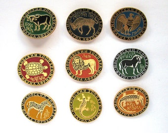 Moscow Zoo, Badge, Fauna, Africa, Animals, Set, Leopard, Lion, Soviet Vintage Pins, Vintage Badges, Collectibles, USSR era, Russian