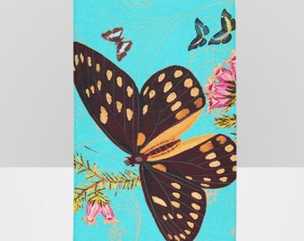 Vintage Black Butterfly Botanical Teal Beach Towel