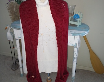 READY TO SHIP* Crocheted winter scarf with pockets, cranberry winter scarf, scarf with pockets, winter scarf, red winter scarf, Pocket scarf
