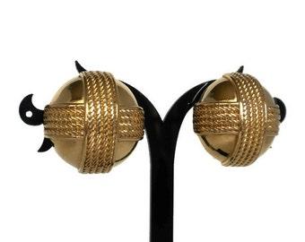 Big Round Gold Clip Earrings - Rope Earrings, Large Clip Earrings, Big Clip On Earrings, Gold Tone Earrings, Gold Earrings, 1980s Earrings