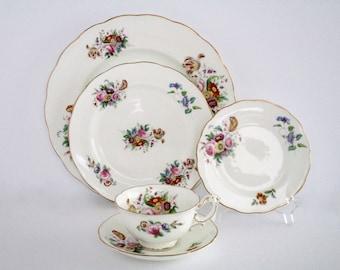 5 Place Setting, Coalport England Bone China Dinnerware Set, Vintage Tableware