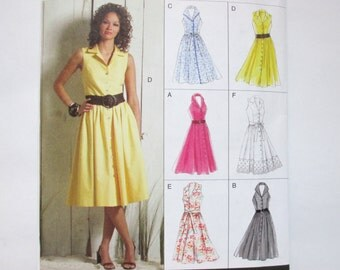 Vogue Easy Options 8383 ~ Summer Halter Dress with Shawl Collar and Gathered Front-Buttoned Skirt SIZE 14 - 20 UNCUT Sewing Pattern