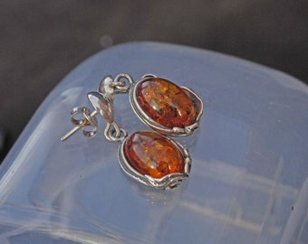 Vintage Silver Baltic Amber Mary Thew Style Drop Earrings